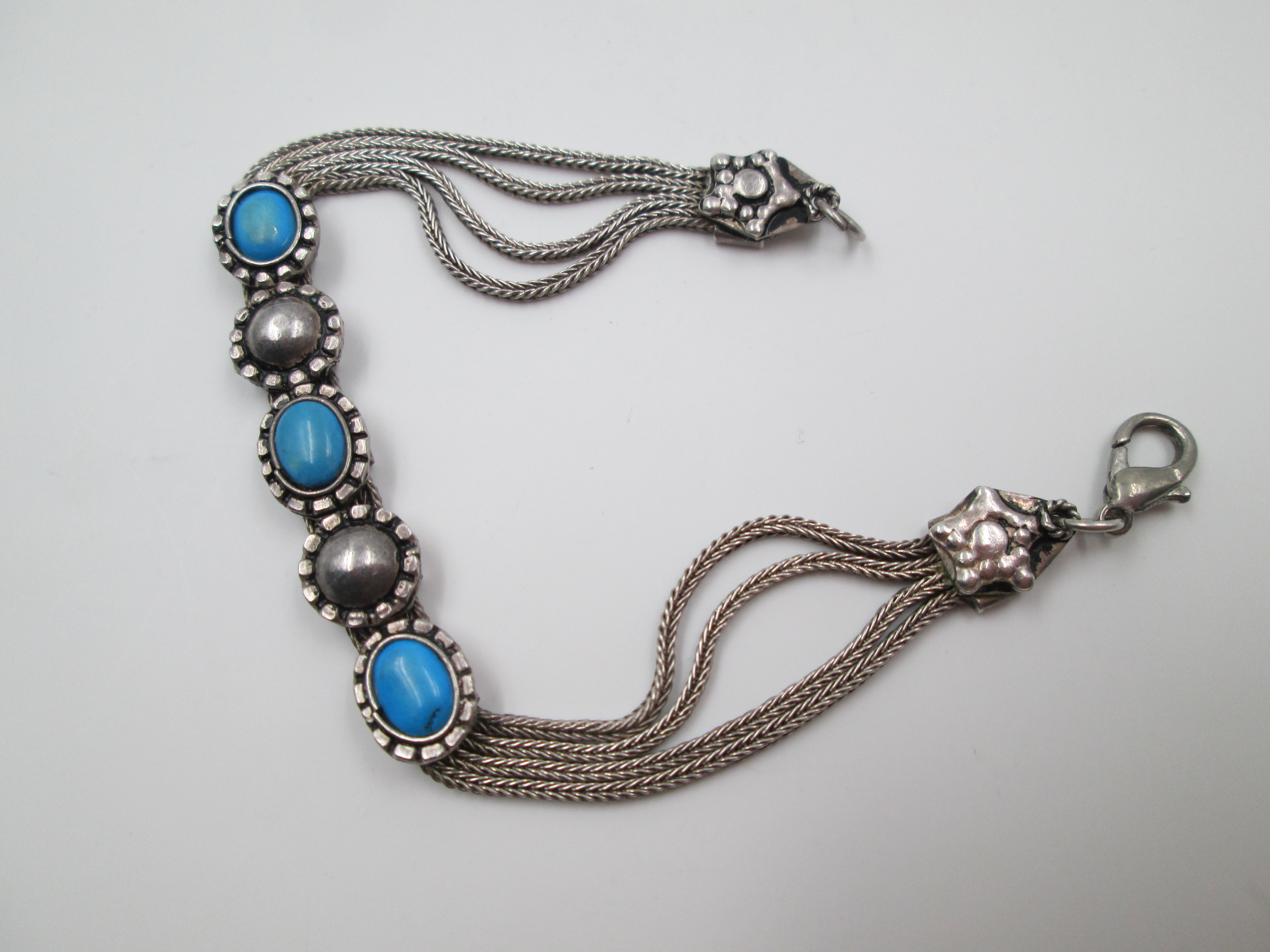 Sterling Silver Multi Chain Flower Bracelet