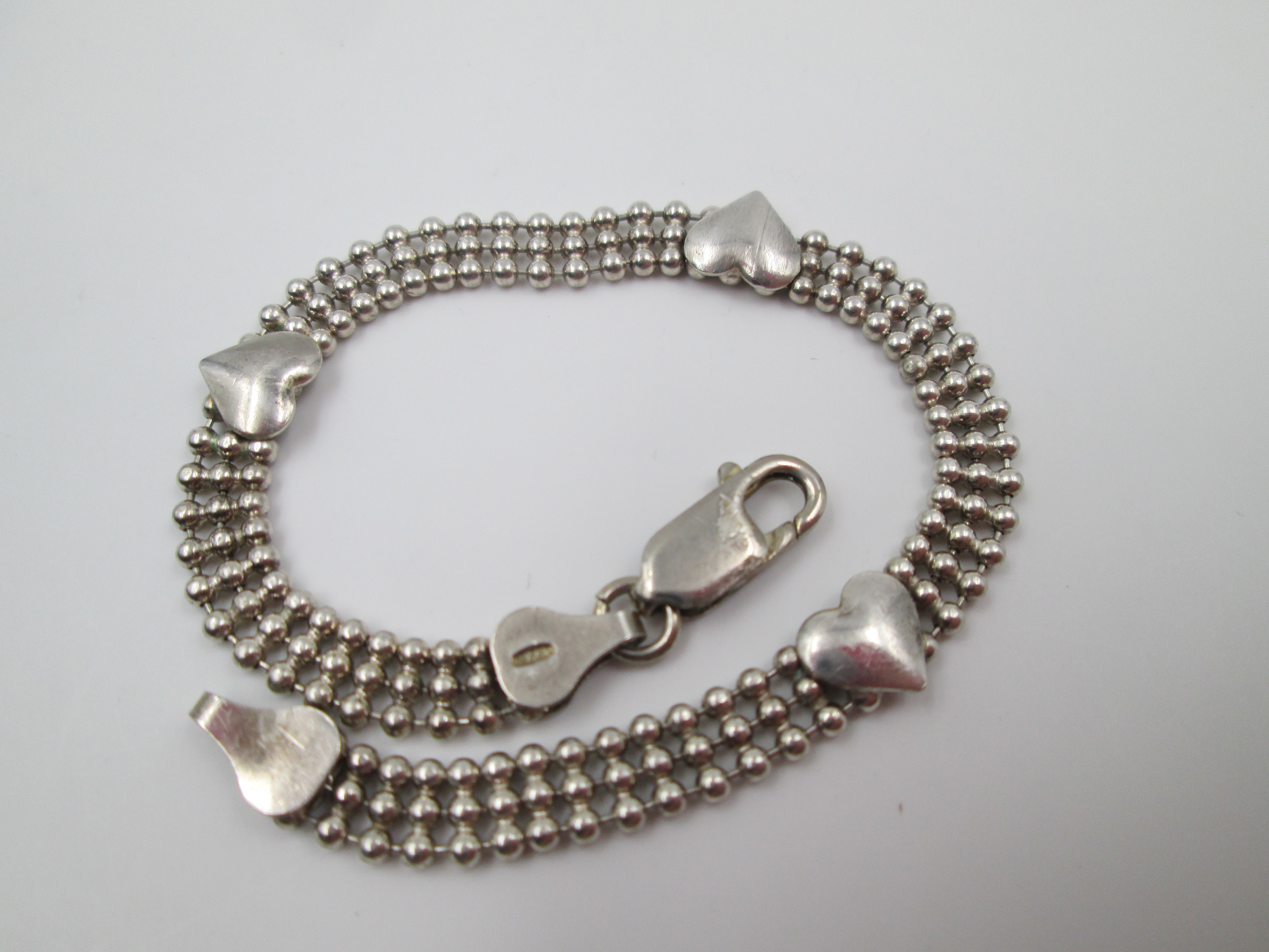 hearts and balls womens bracelet sterling silver 1990s
